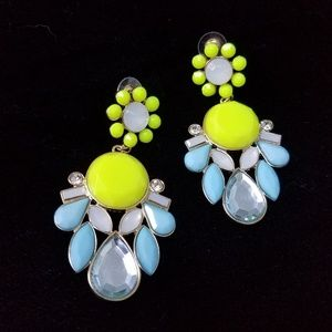 Jewelry - Neon yellow and Lt Blue Statement Earrings, NWOT